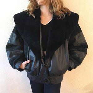 Jindo Furs Black Leather Fur Collar Bomber Jacket